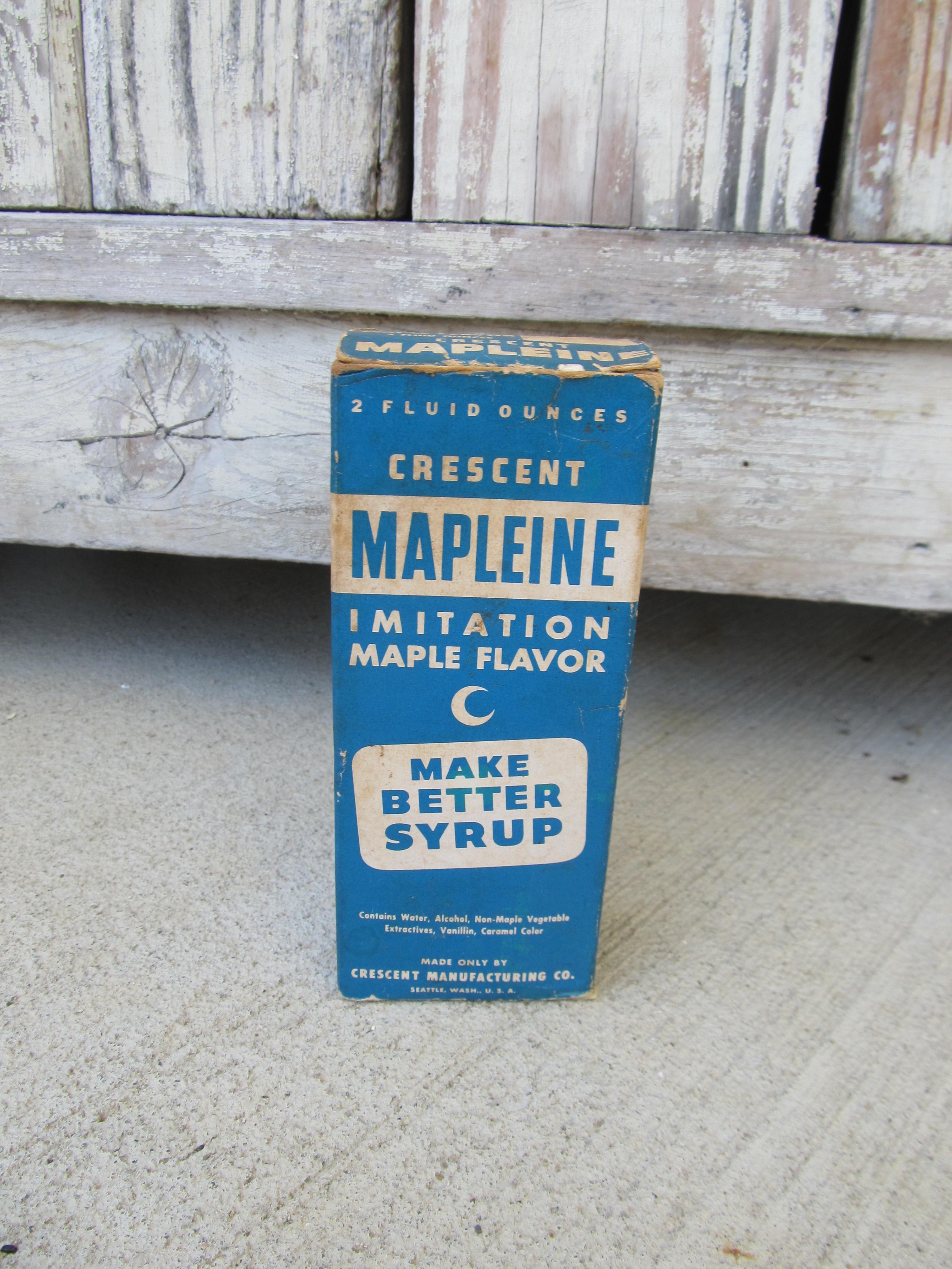 Vintage Antique Crescent Brand Mapleine Imitation Maple Flavor Glass Bottle  and Box