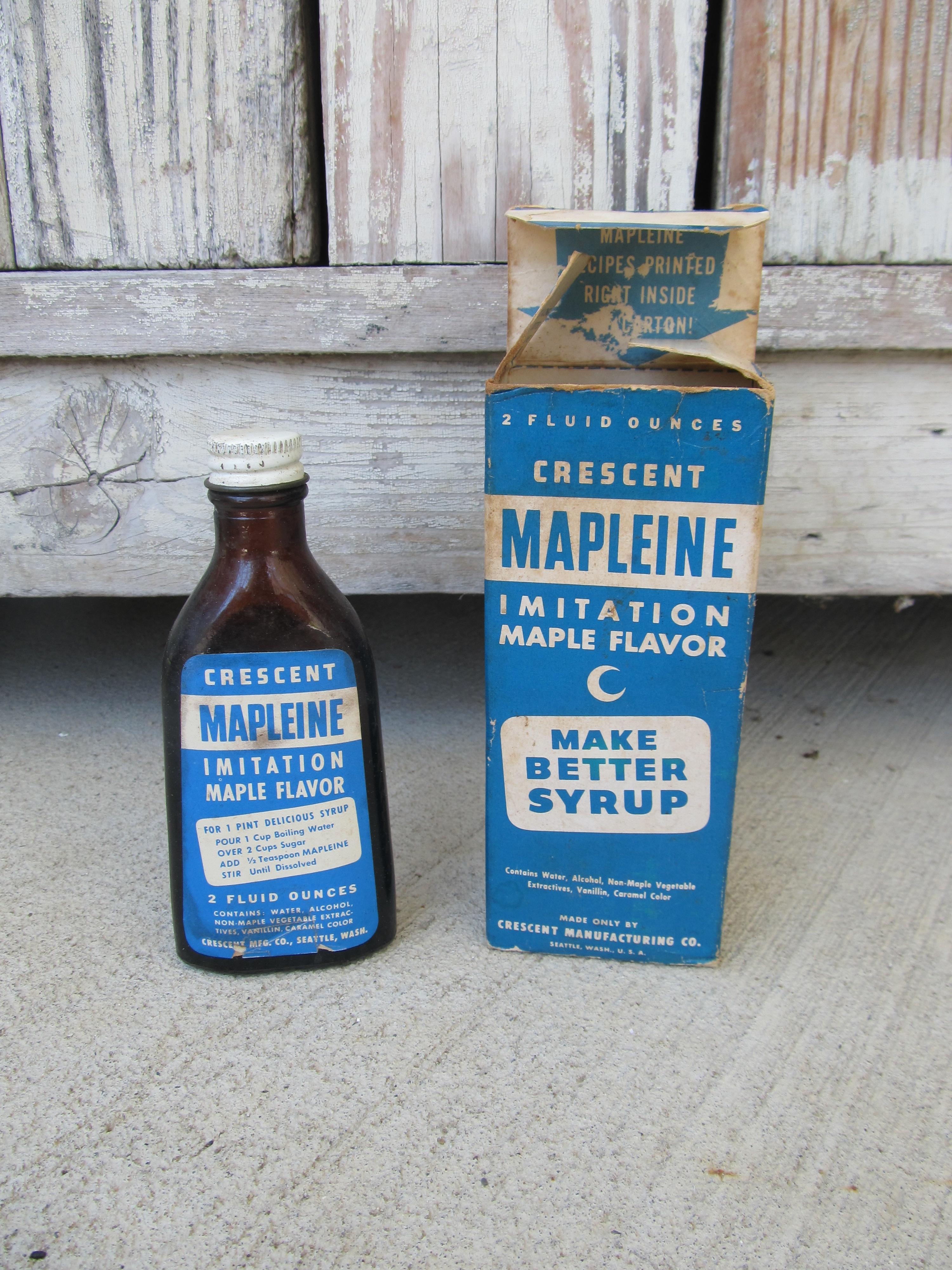 Vintage Antique Crescent Brand Mapleine Imitation Maple Flavor Glass ...