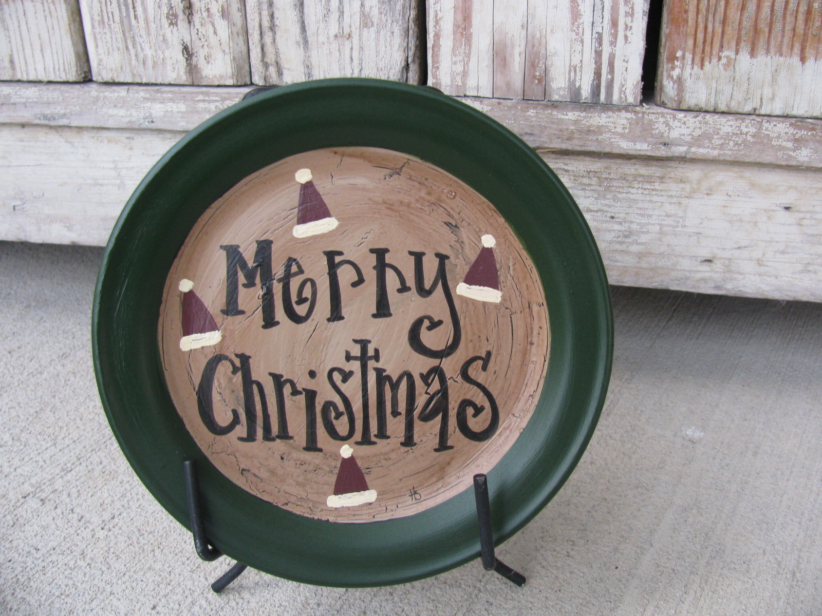 Home u003e Winter Country Crafts u003e Primitive Country Christmas Holiday Santa Claus Hats Mini Word Hand Painted Decorative Plate & Primitive Country Christmas Holiday Santa Claus Hats Mini Word Hand ...