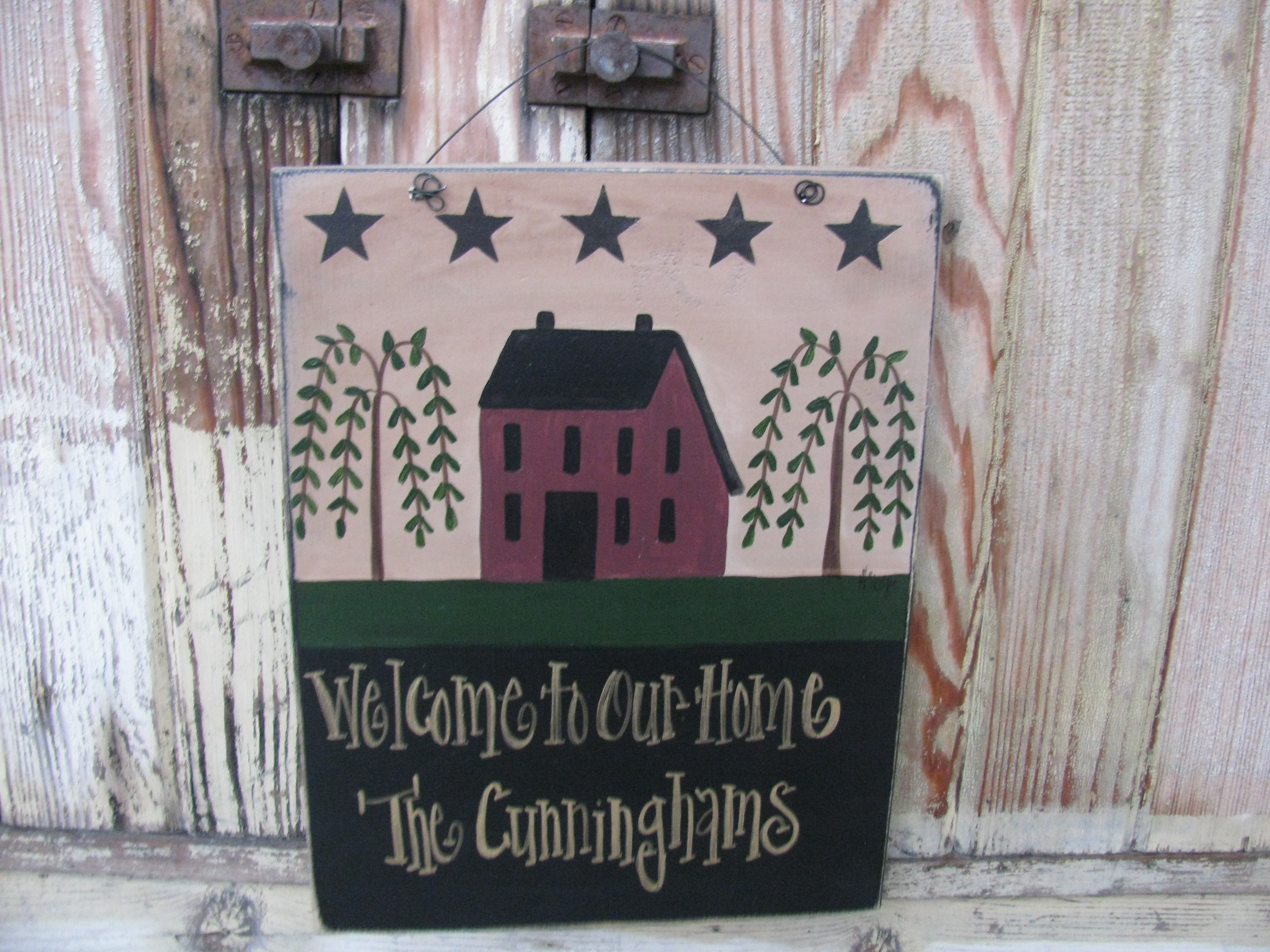 Primitive Burgundy Saltbox House With Willow Trees And