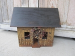 Primitive Hand Made English Mustard Saltbox House with Wreath and Fence Sit or Hang and Lighting Option