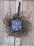 Primitive Americana Old Glory Grapevine Twiggy Pip Berry Wreath