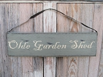 Primitive Olde Garden Shed with Crows Sign with Metal Hanger