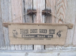 Vintage Looking Coffee Stained Shaker Choice Garden Seeds Feed Sack Lathe Wall Hanging