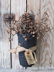Primitive Black Hanging Basket with Primitive Tea Stained Pip Berries and Tag