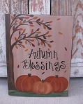 Primitive Autumn Blessings Fall Tree Hand Painted Sign