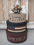 Primitive America Flag 1776 Oval Stack Box Light