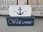 Primitive Rustic Welcome Anchor Set of 2 Hand Painted Stacker Blocks