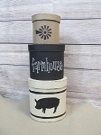 Farmhouse Animal and Windmill Set of 3 Oval Stacking Boxes with Animal Choice