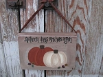 Primitive Autumn Days Are Here Again Pumpkins Leaves Hanging Book