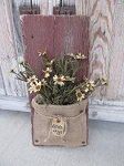 Primitive Rustic Barn Board Burlap Flower Pocket with Tea Stained Daisies