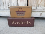 Primitive Baskets Set of 2 Hand Painted Stacker Blocks with Color Options