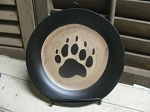 Rustic Lodge Cabin Black Bear Paw Small Hand Painted Decorative Plate