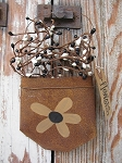 Primitive Country Black Eyed Susan Sunflower Rusty Hanging Pocket