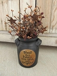 Primitive Black Stoneware Bless This Home with Love and Laughter Crock with Pip Berries