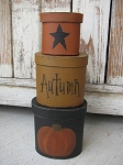 Primitive Black Fall Pumpkin Set of 3 Oval Stack Boxes
