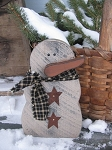 Country Primitive Chunky Snowman with Homespun Scarf