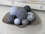Primitive Hand Wrapped Black Grey and White Set of 9 Rag Balls