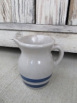 Primitive Little Grey with Blue Stripes Stoneware Pitcher