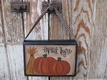 Primitive Bordered Fall Autumn Pumpkins with Wheat Hanging Book