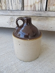 Antique Primitive Two Tone Brown/Cream Small Rare Stoneware Whiskey Jug
