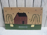 Primitive Burgundy Saltbox and Willow Trees with Sheep Hand Painted Wooden Sign