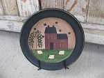 Burgundy Saltbox Plate with Willow Trees and Sheep