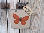Primitive Butterfly Hand Painted Wooden Sign Plaque