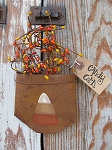 Primitive Fall Autumn Halloween Candy Corn Rusty Tin Hanging Pocket with Berries