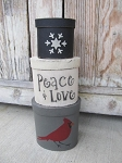 Primitive Winter Christmas Cardinal Set of 3 Oval Stacking Boxes