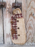 Primitive Chenille Hanging Snowman with Burgundy Plaid Scarf and Rusty Stars