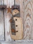 Primitive Chenille Hanging Snowman with Navy and Tan Plaid Scarf and Rusty Stars