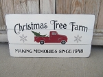 Primitive Hand Painted Christmas Tree Farm with Red Truck Pallet Sign