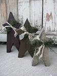 Primitive Chunky Wooden Stars with Cheese Cloth and Sweet Annie