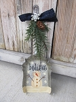 Primitive Antique Vintage Hand Painted Believe Snowman Silver Coal Shovel Decoration