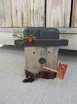 Primitive Wooden Hand Made Block Snowman with Corn Cob Pipe