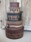 Primitive Pledge of Allegiance Stacking Boxes Set of 5