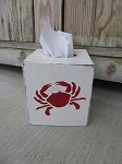 Nautical Lake Beach Rustic Crab Hand Painted Tissue Box Cover