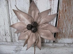 Primitive Felt Cream Poinsettia Ornament or Pick