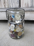 Antique Drey Ball Lock Mason Jar full of Vintage Antique Olde Sewing Buttons