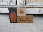 Primitive Fall Blessings Pumpkin and Leaf Set of 3 Stacking Blocks