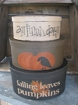 Primitive Autumn Falling Leaves Fall Set of 3 Hand Painted Oval Stacking Boxes