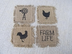 Primitive Hand Painted Farmhouse Rooster Chicken Windmill Farm Life Burlap Cotton Fringed Coaster Set of 4