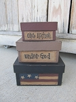 Primitive American Flag Square Stacking Boxes