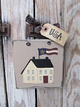 Primitive Saltbox House with Flag Hand Painted Sign Plaque