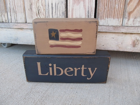 fb4dd3cd553 Primitive Americana Patriotic American Flag Stacker Blocks Set of 2 with  Options. Traditional Navy Blue with Liberty Shown