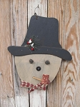Primitive Frosty the Wooden Snowman with Corn Cob Pipe