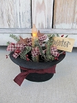 Primitive Winter Frosty The Snowman Hat Light with Timer Candle
