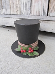 Primitive Winter Frosty's Paper Mache Top Hat Tree Topper Decoration