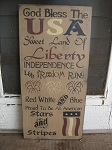 God Bless the USA Primitive Americana Typography Wood Sign